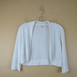 Eliza J Womens White Cropped Knit Cardigan Sweater